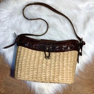 BRIGHTON Straw & Leather Woven Purse & Heart Fob